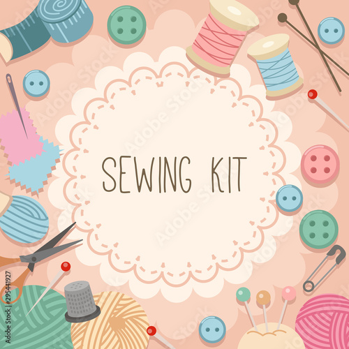 Cuadros en Lienzo  The collection of sewing kit set in pink background