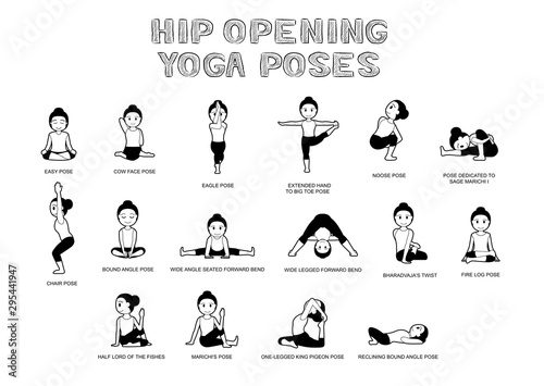 Obraz na plátně Hip Opening Yoga Poses Vector Illustration Black and White