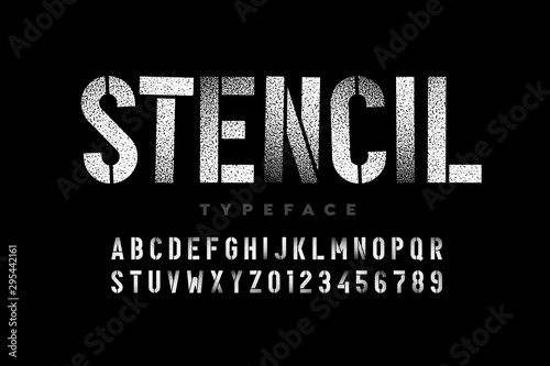 Foto  Spray paint sctencil style font, alphabet letters and numbers