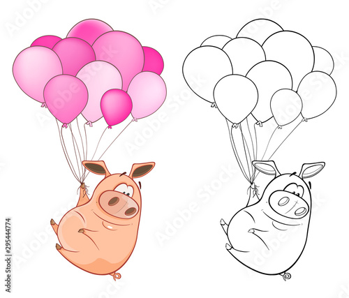 Fotobehang Babykamer Vector Illustration of a Cute Cartoon Character Pig for you Design and Computer Game. Coloring Book Outline Set