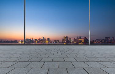 cityscape and skyline of hangzhou from glass window