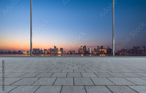 cityscape and skyline of hangzhou from glass window Fototapete