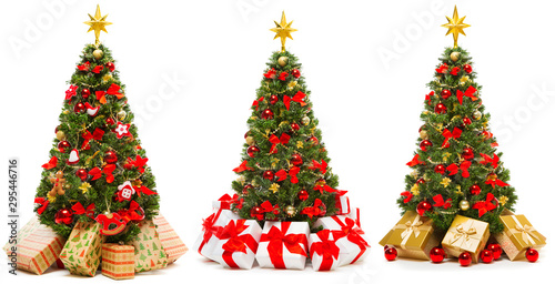 Arbre Christmas Tree Isolated over White Background, Set of Decorated Xmas Tree with Present Gift Boxes