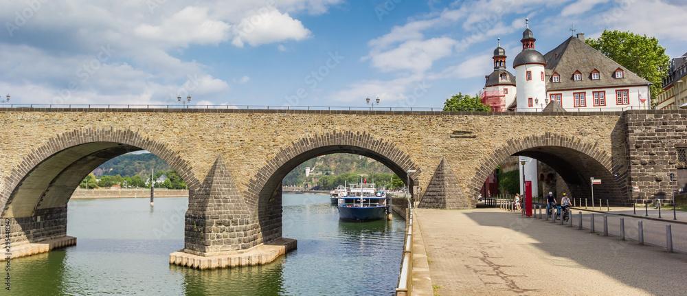 Fototapety, obrazy: Panorama of the historic Balduinbrucke bridge over the river Mosel in Koblenz, Germany