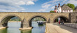 canvas print picture - Panorama of the historic Balduinbrucke bridge over the river Mosel in Koblenz, Germany