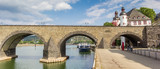 Panorama of the historic Balduinbrucke bridge over the river Mosel in Koblenz, Germany