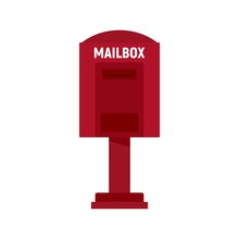 Red Street Mailbox Icon. Flat ...