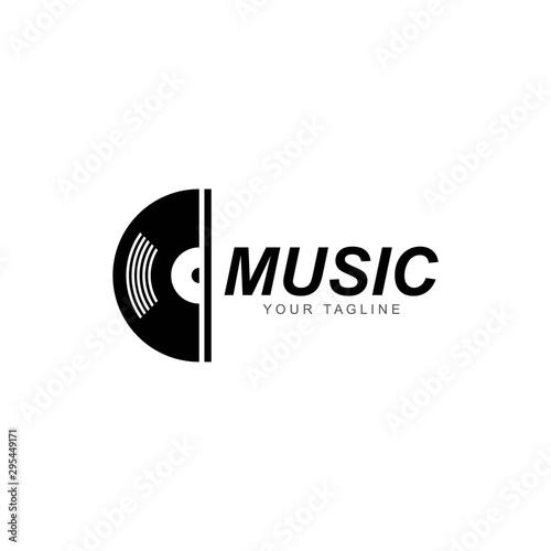 Fotografía Vinyl disk record music logo vector icon illustration design