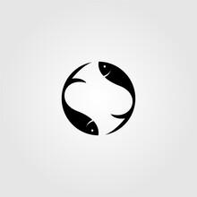 Simple Fish Yin Yang Logo Design Vector Illustration