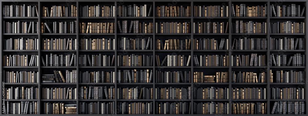 Fototapeta Bookshelves in the library with old books 3d render 3d illustration