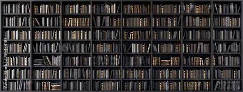 Fotografie, Obraz  Bookshelves in the library with old books 3d render 3d illustration