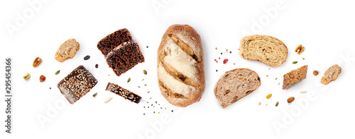 Fototapeta Creative layout made of breads on white background. Flat lay. Food concept. obraz