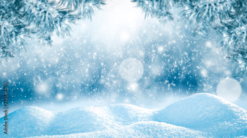 Poster Sunset Winter background of snow and free space for your decoration.