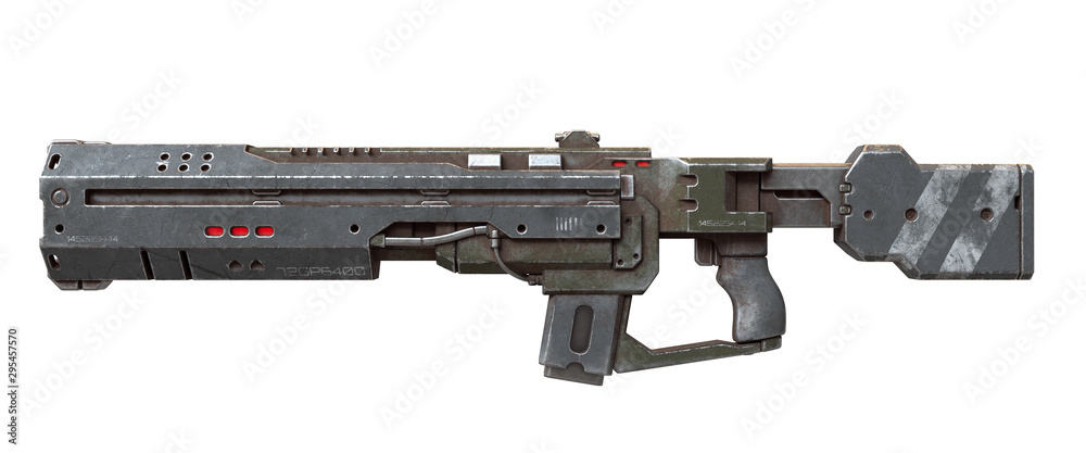 Fototapeta 3d illustration of sci-fi futuristic weapon isolated on white background. Science fiction military laser gun. Concept design of high-tech assault rifle with green gray color scratched metal. Side view