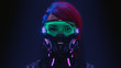 3d illustration of a front view of a cyberpunk girl in futuristic gas mask with protective green glasses and filters in stylish jacket with purple el wire standing in a night scene with air pollution.