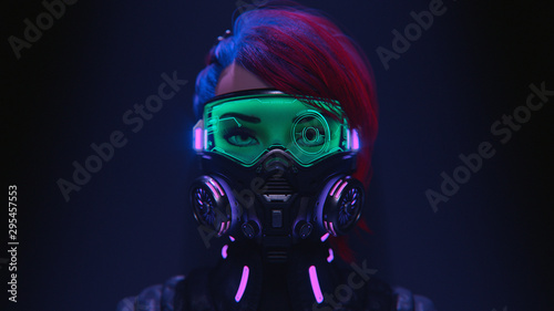 Fotomural 3d illustration of a front view of a cyberpunk girl in futuristic gas mask with protective green glasses and filters in stylish jacket with purple el wire standing in a night scene with air pollution