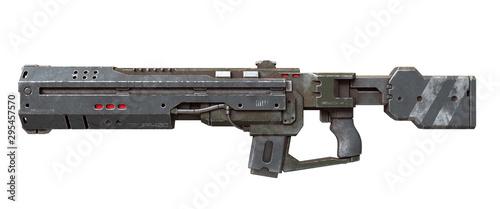 3d ilustracja fantastyka naukowa futurystyczna broń odizolowywająca na białym tle. Wojskowy laserowy pistolet naukowy. Projekt koncepcyjny nowoczesnego karabinu szturmowego z porysowanym metalem w kolorze szaro-zielonym. Widok z boku