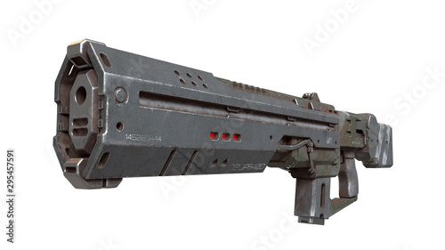 Photo 3d illustration of sci-fi futuristic weapon isolated on white background