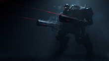 3d Illustration Of Night Action Scene Of Sci-fi Mech Standing In The Fog In Attacking Pose With Two Assault Guns With Laser Sight On Dark Background. Military Storm Trooper Robot With Tank Metal Armor
