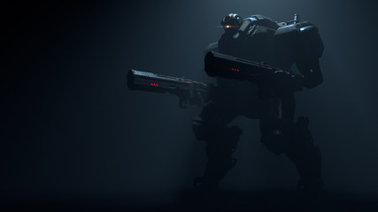 3d illustration of night action scene of sci-fi mech soldier standing with two assault guns on dark background. Concept art of military storm trooper robot with tank metal armor. Security Mech Battle