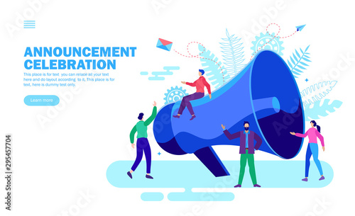 announcement with loudspeaker and happy team Canvas Print