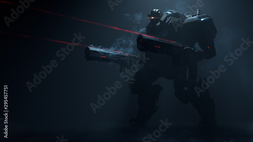 3d illustration of night action scene of sci-fi mech standing in the fog in attacking pose with two assault guns with laser sight on dark background Wallpaper Mural