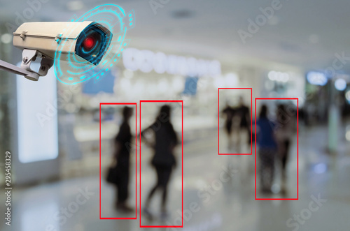 Fotomural  IOT CCTV, security indoor camera motion detection system operating with people s