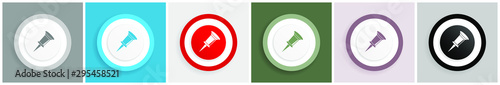 Photo Pin icon set, colorful flat design vector illustrations in 6 options for web des