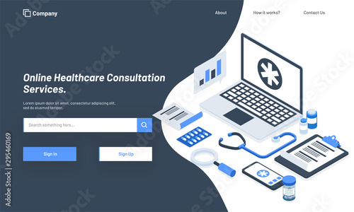 Fotomural  Isometric illustration of laptop with medical equipments, responsive hero banner design for Online Healthcare Consultation Service concept