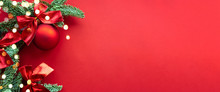 Christmas Composition. Background Red Colors With Decorations. Christmas, Winter, New Year Concept. Flat Lay, Top View, Copy Space .