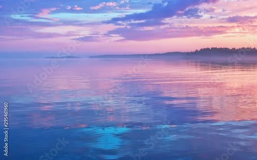Door stickers Sunset Misty Lilac Sunset Seascape With Sky Reflection