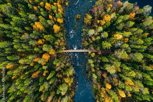 Obraz Aerial view of fast river flow through the rocks and colorful forest. Autumn in Finland - fototapety do salonu
