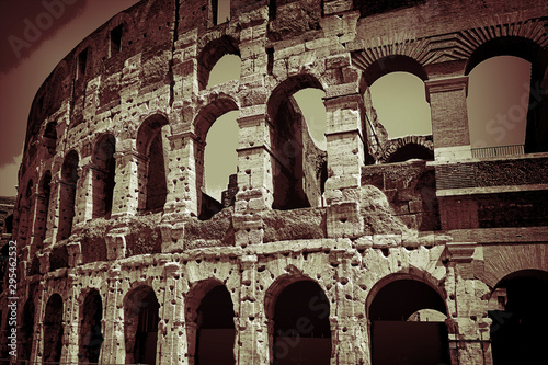 Ancient roman colosseum in Rome, Italy. Wallpaper Mural