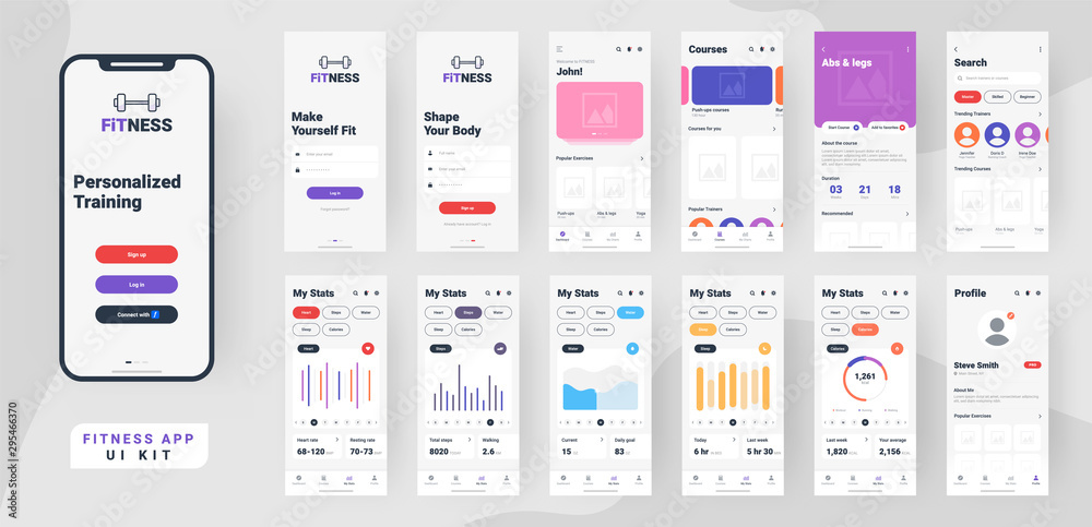 Fototapety, obrazy: Fitness mobile app material design with different gui screens including sign create profile, workout and statistics features.
