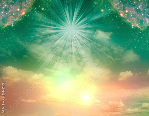 abstract angel spiritual mystic mystical magic magical religious background with stars and divine angelic light  - 295467101