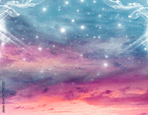 abstract angel spiritual mystic mystical magic magical religious background with stars and divine angelic light  - 295467128