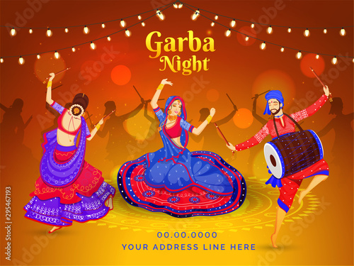 Garba Night Celebration Poster Or Banner Design With Illustration Of Women Dandiya Dance And Drummer Playing Dholak On Brown Bokeh Lighting Background Buy This Stock Vector And Explore Similar Vectors At