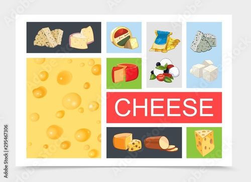 Fototapety, obrazy: Cartoon Natural Cheese Composition