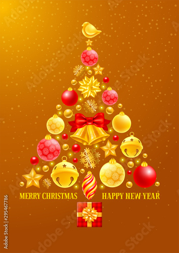 Luxury Christmas Tree made of festive elements such as golden bells, snowflakes, christmas balls, birds, beads etc Canvas Print