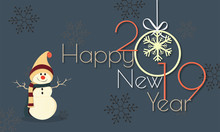 Happy New Year 2019 Poster Or Template Design With Illustration Of Snowman And Hanging Bauble On Grey Snowflake Background.
