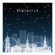 Winter night in Newcastle. Night city in flat style for banner, poster, illustration, background.