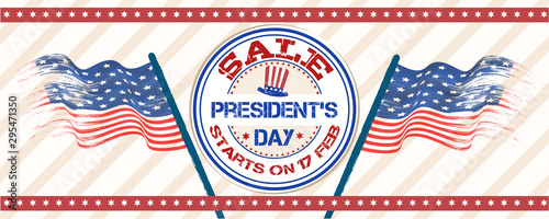 Valokuva  President Day sale header or banner design with rubber stamp and wavy USA flags illustration