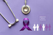 canvas print picture - Stethoscope and person with purple ribbon on purple background, Symbol of Alzheimers awareness, Healthcare and medicine concept.