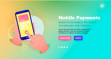 Payment By Card Online, Banner Design. Mobile Payments Technology Template Design, Web Banner.