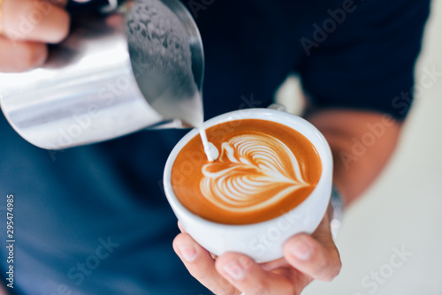 Photographie  Coffee latte art in cafe