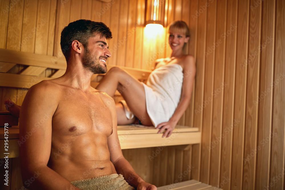Fototapeta Man and woman in sauna