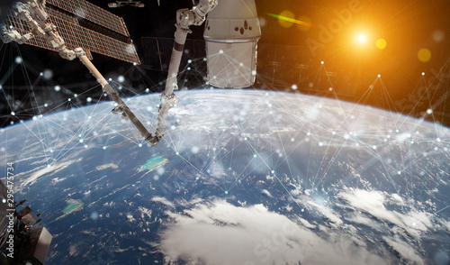 Foto auf AluDibond Individuell Satellites sending datas exchanges and connections system over the globe 3D rendering elements of this image furnished by NASA