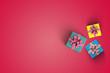 Leinwanddruck Bild -  gift boxes set  on the color background