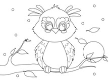 Cute Cartoon Owl Sitting On A ...