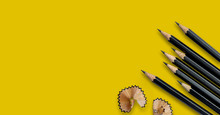 Black Pencils Placed On Yellow...